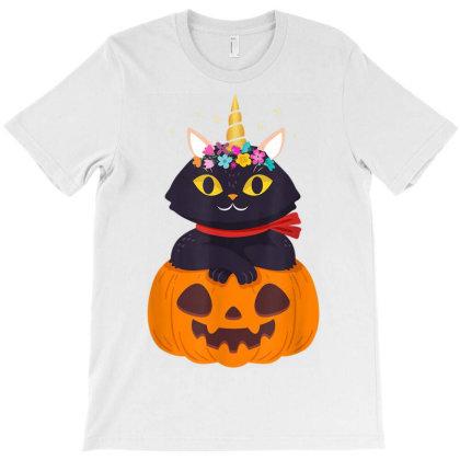 Cute Cat Pumpkin Unicorn Halloween Costume Gift Girls Kids T-shirt Designed By Nhan0105