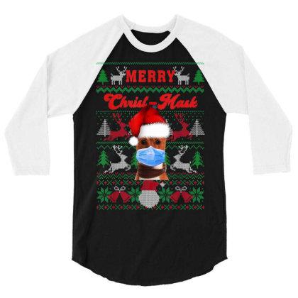 Basenji Merry Christ Mask 3/4 Sleeve Shirt Designed By Koopshawneen