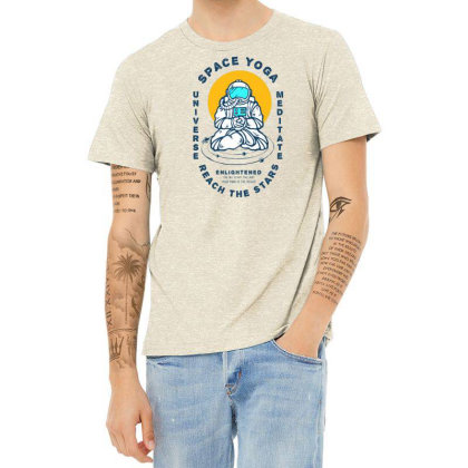 Astronaut Meditation In Yoga Position Looking For Enlightenment Heather T-shirt Designed By Traart