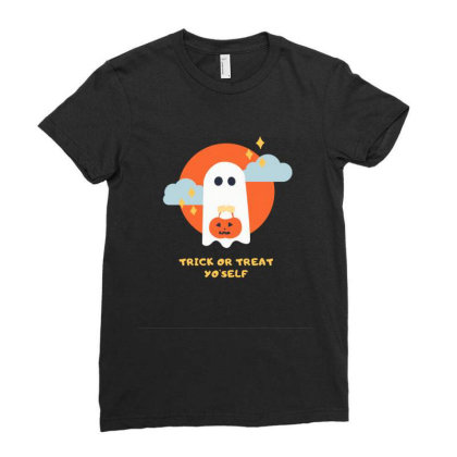 Illustrated Ghouls Halloween Ladies Fitted T-shirt Designed By Khanfarhan670