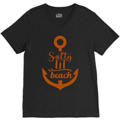 Anchor Salty Little Beach V-neck Tee Designed By Hot Maker