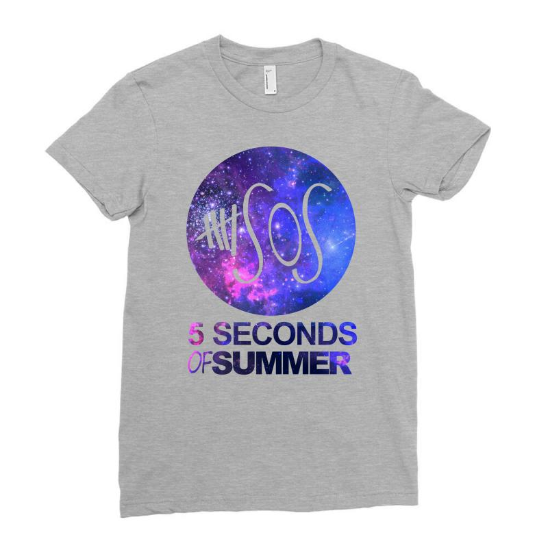 5sos Five Seconds Of Summer Logo Circle Galaxy White Ladies Fitted T-shirt | Artistshot