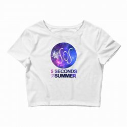 5sos five seconds of summer logo circle galaxy white Crop Top | Artistshot
