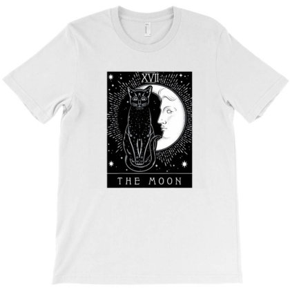Tarot Card Crescent Moon And Cat T-shirt Designed By Mendoza