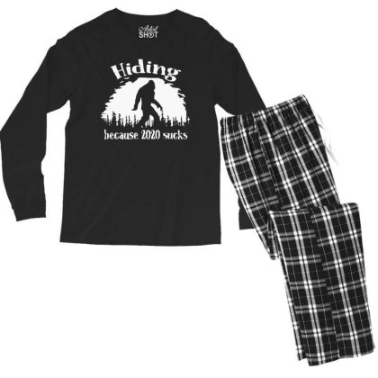Hiding Because 2020 Sucks Bigfoot Men's Long Sleeve Pajama Set Designed By Jober