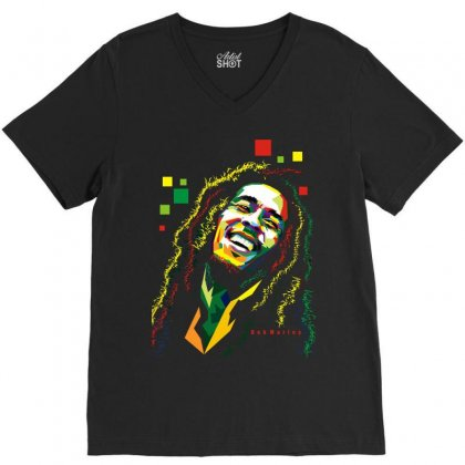 Bob Marley Rasta Way In V-neck Tee Designed By Mdk Art
