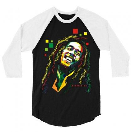 Bob Marley Rasta Way In 3/4 Sleeve Shirt Designed By Mdk Art
