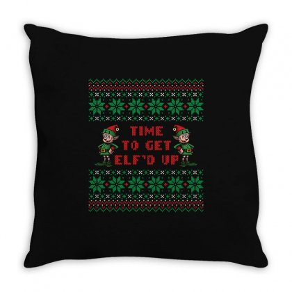 Time To Get Elfed Up Throw Pillow Designed By Tshiart