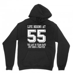 55th birthday life begins at 55 white Unisex Hoodie | Artistshot