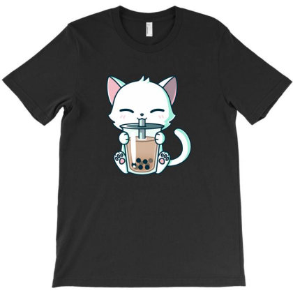 Boba Cat T-shirt Designed By Guhers