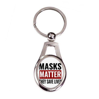Masks Matter They Save Lives Silver Oval Keychain Designed By Koopshawneen