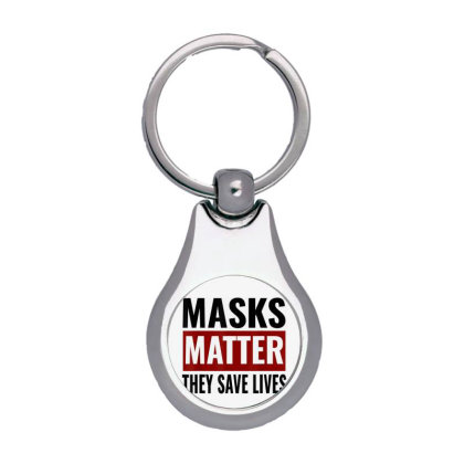 Masks Matter They Save Lives Silver Pear Keychain Designed By Koopshawneen