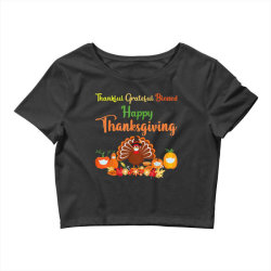 Happy thanksgiving turkey with a mask Crop Top | Artistshot