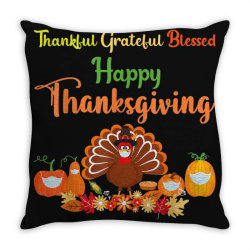 Happy Thanksgiving Turkey With A Mask Throw Pillow Designed By Mrt90