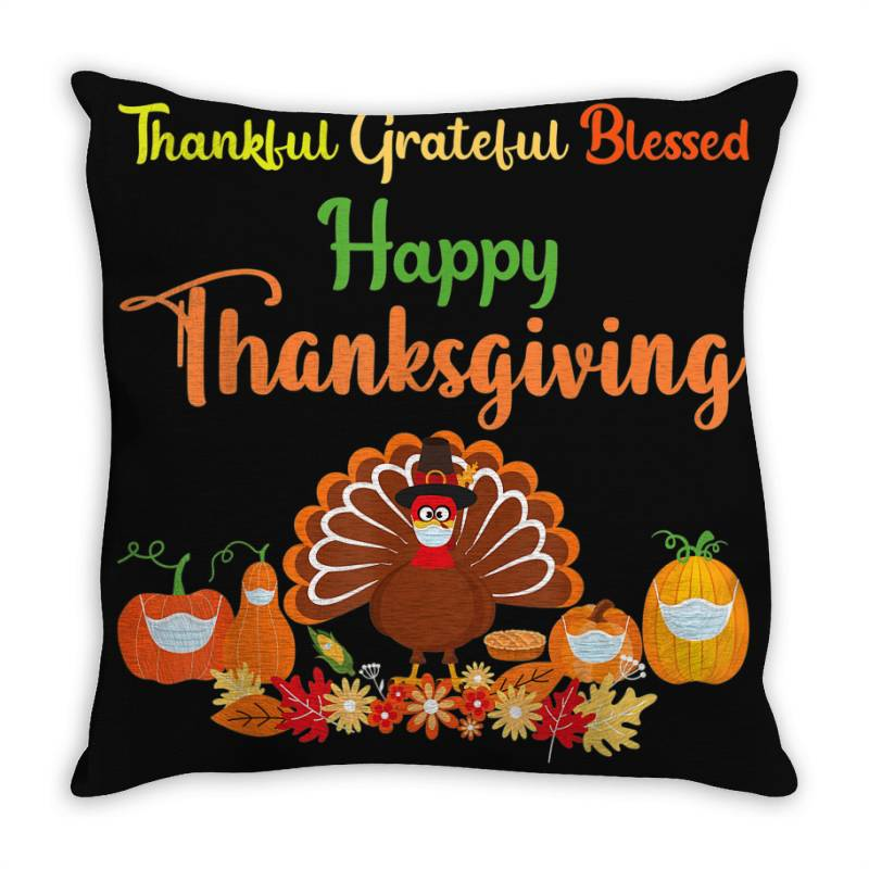 Happy Thanksgiving Turkey With A Mask Throw Pillow | Artistshot