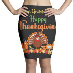 Happy thanksgiving turkey with a mask Pencil Skirts | Artistshot