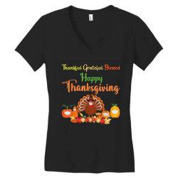 Happy thanksgiving turkey with a mask Women's V-Neck T-Shirt | Artistshot