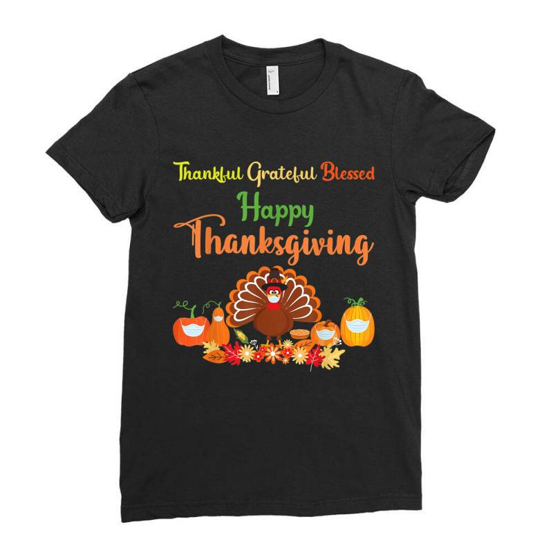 Happy Thanksgiving Turkey With A Mask Ladies Fitted T-shirt | Artistshot