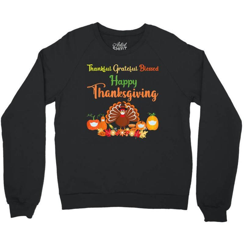 Happy Thanksgiving Turkey With A Mask Crewneck Sweatshirt | Artistshot