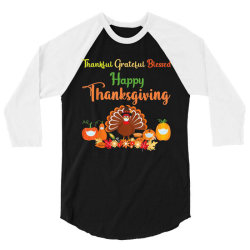 Happy thanksgiving turkey with a mask 3/4 Sleeve Shirt | Artistshot