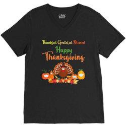 Happy thanksgiving turkey with a mask V-Neck Tee | Artistshot