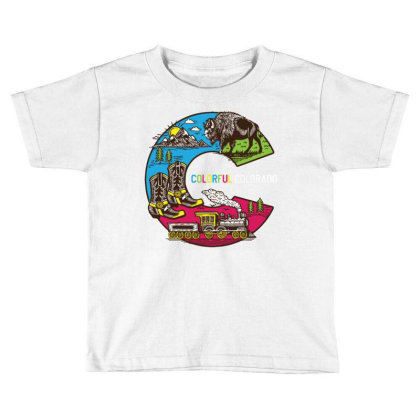 Colorful Colorado Landscape Imagery Emblem Toddler T-shirt Designed By Traart