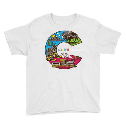 Colorful Colorado Landscape Imagery Emblem Youth Tee Designed By Traart