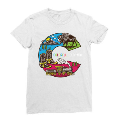 Colorful Colorado Landscape Imagery Emblem Ladies Fitted T-shirt Designed By Traart