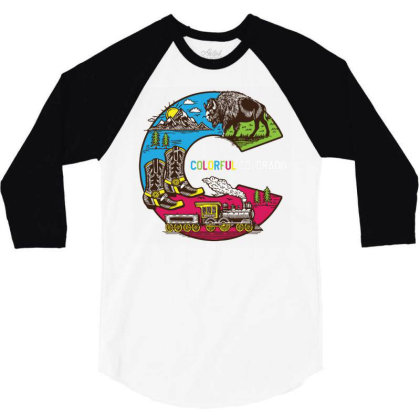 Colorful Colorado Landscape Imagery Emblem 3/4 Sleeve Shirt Designed By Traart