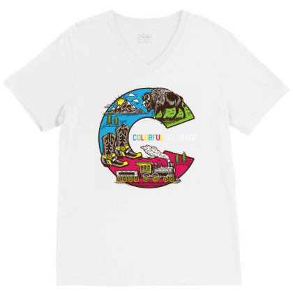 Colorful Colorado Landscape Imagery Emblem V-neck Tee Designed By Traart