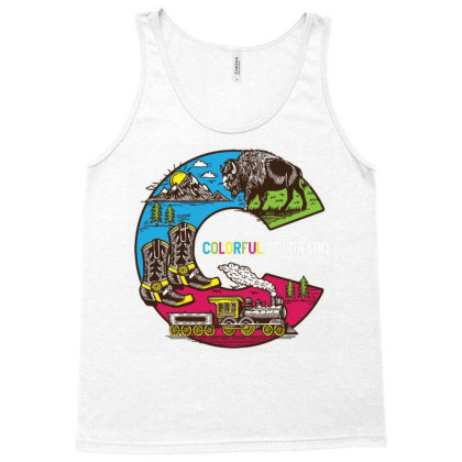 Colorful Colorado Landscape Imagery Emblem Tank Top Designed By Traart