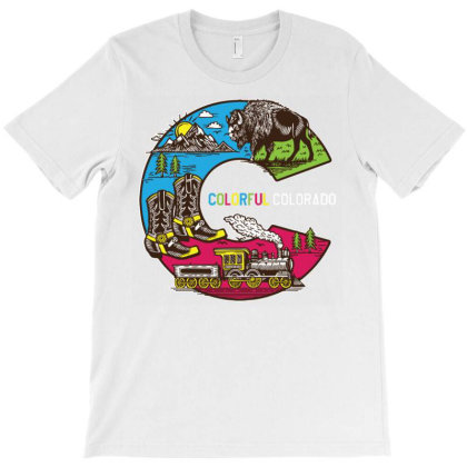 Colorful Colorado Landscape Imagery Emblem T-shirt Designed By Traart