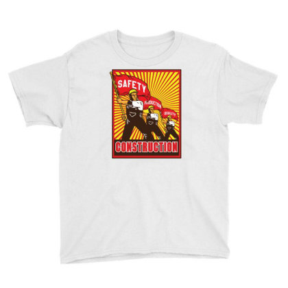 Construction Workers Propaganda Youth Tee Designed By Traart
