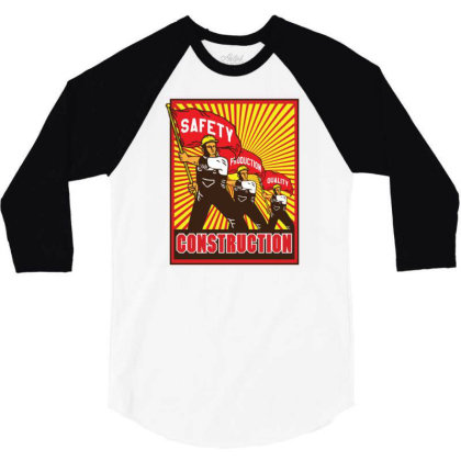 Construction Workers Propaganda 3/4 Sleeve Shirt Designed By Traart