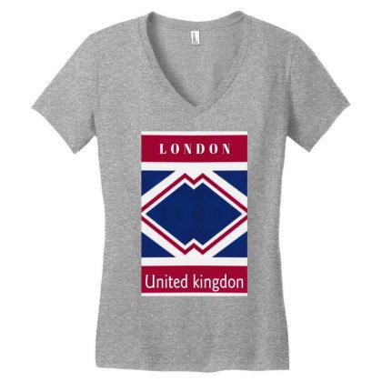 United Kingdon Women's V-neck T-shirt Designed By Dav