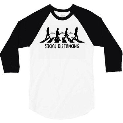 Abbey Road Social Distancing 1 Feet 3/4 Sleeve Shirt Designed By Badaudesign