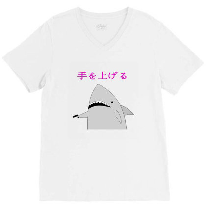 Japanese Fish Hold Up V-neck Tee Designed By Agnes Mond