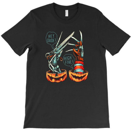 Scissors And Knives Hi Dude High Five T-shirt Designed By Daryaniagustina