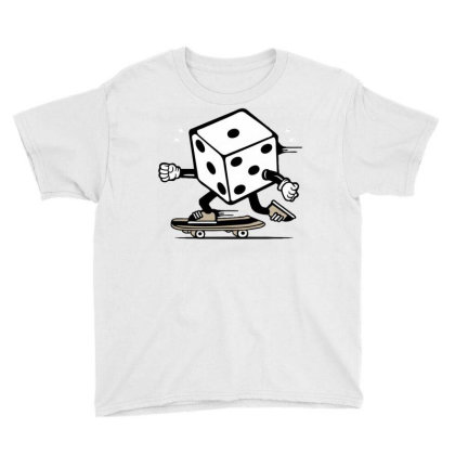 Dice Skater Skateboard Youth Tee Designed By Tamiart