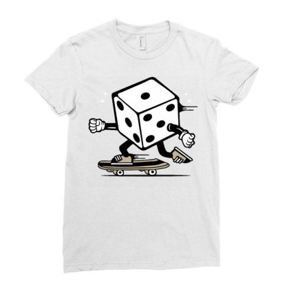 Dice Skater Skateboard Ladies Fitted T-shirt Designed By Tamiart