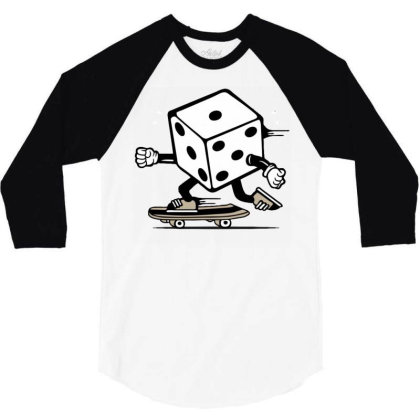 Dice Skater Skateboard 3/4 Sleeve Shirt Designed By Tamiart