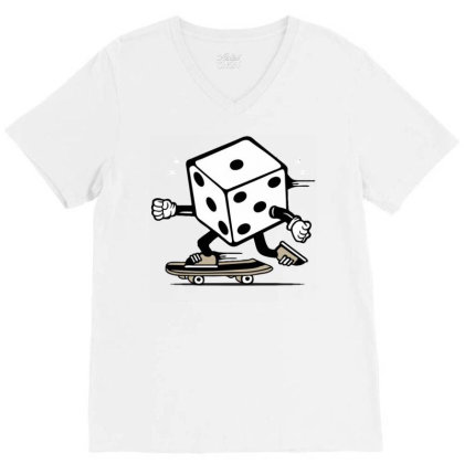 Dice Skater Skateboard V-neck Tee Designed By Tamiart
