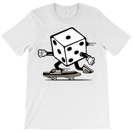 Dice Skater Skateboard T-shirt Designed By Tamiart