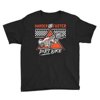 Dirt Bike Harde & Faster Youth Tee Designed By Tamiart