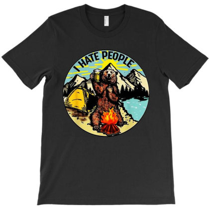 Bear Camping Hate T-shirt Designed By Trusttees