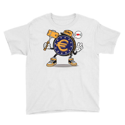 Euro Coin Money Selfie Youth Tee Designed By Tamiart