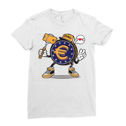 Euro Coin Money Selfie Ladies Fitted T-shirt Designed By Tamiart