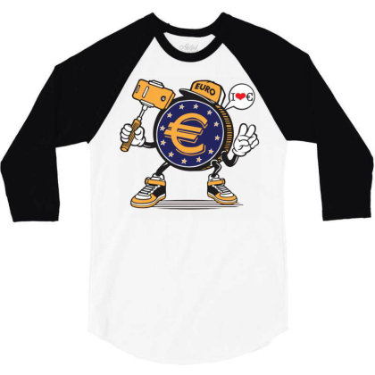 Euro Coin Money Selfie 3/4 Sleeve Shirt Designed By Tamiart