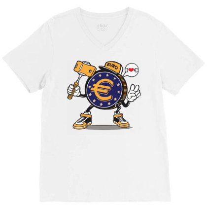 Euro Coin Money Selfie V-neck Tee Designed By Tamiart