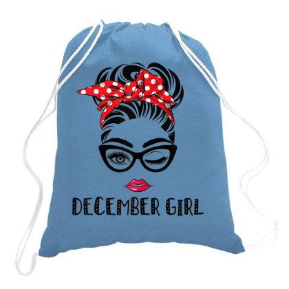 December Girl Woman Face Drawstring Bags Designed By Mrt90